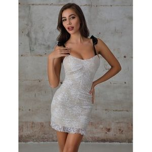White Lace Mini Dress with Contrast Straps
